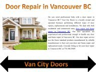 Door Repair in Vancouver BC