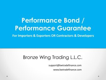 Performance Bond / Performance Guarantee