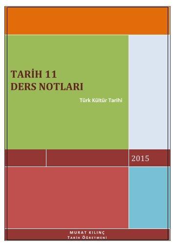11. Sınıf Tarih (Kültür Tarihi) Ders Notları (Tüm Üniteler)