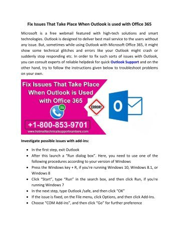 Fix Issues That Take Place When Outlook is used with Office 365
