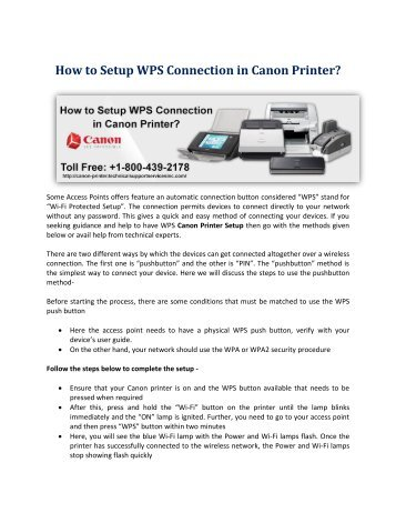 How to Setup WPS Connection in Canon Printer?