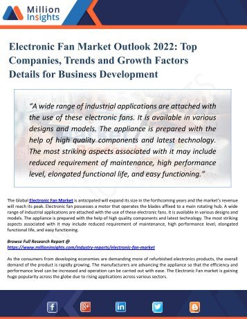 Electronic Fan Market Outlook 2022-Top Companies, Trends and Growth Factors Details for Business Development