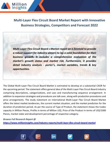 Multi-Layer Flex Circuit Board Market Report with Innovative Business Strategies, Competitors and Forecast 2022