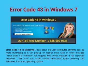 Step to Fix Error Code 43 in Windows 7 Call 1-888-909-0535
