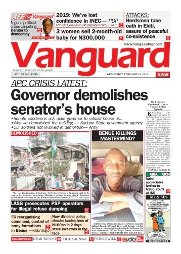 21022018 - APC CRISIS LATEST :Governor demolishes senator's house