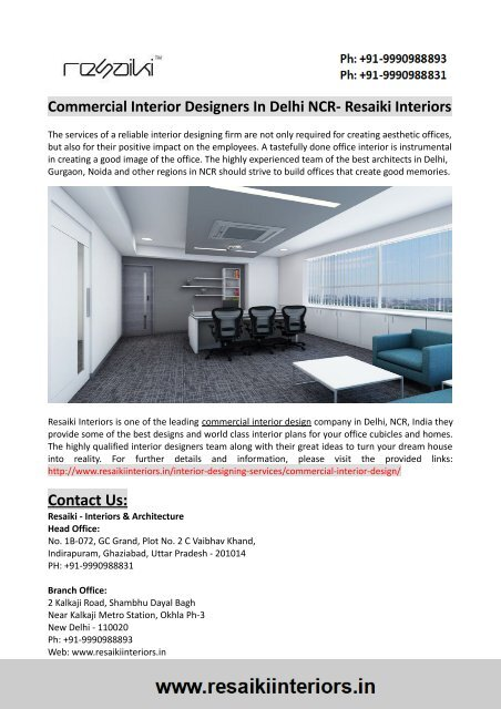 Commercial Interior Designers In Delhi Ncr Resaiki Interiors