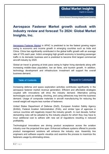Aerospace Fastener Market By Product, Application, Region – Forecast to 2024