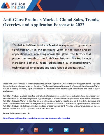 Anti-Glare Products Market- Global Sales, Trends, Overview and Application Forecast to 2022