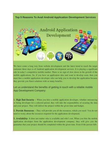 Top 5 Reasons To Avail Android Application Development Services
