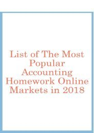 List of the Most Popular Accounting Homework Online Markets in 2018