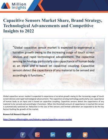 Capacitive Sensors Market Share, Brand Strategy, Technological Advancements and Competitive Insights to 2022