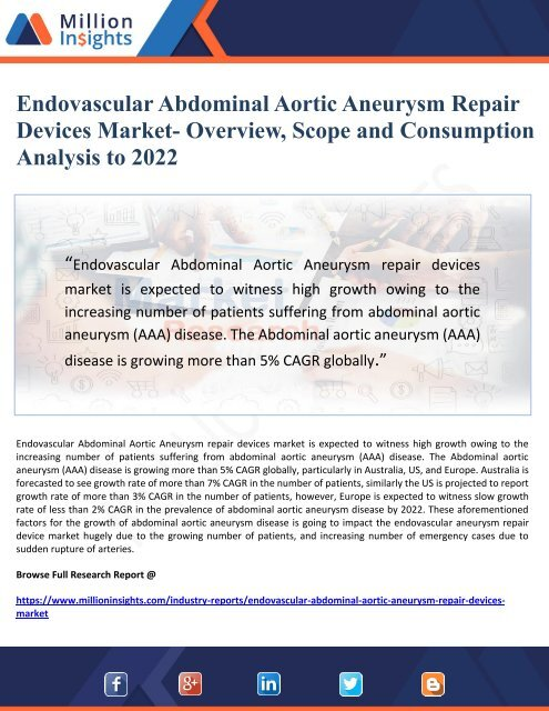Endovascular Abdominal Aortic Aneurysm Repair Devices Market- Overview, Scope and Consumption Analysis to 2022