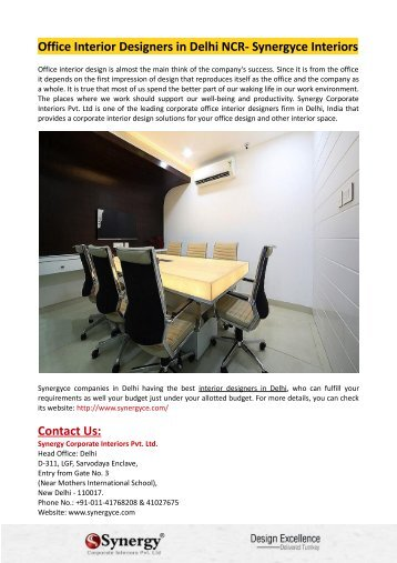 Office Interior Designers in Delhi NCR- Synergyce Interiors