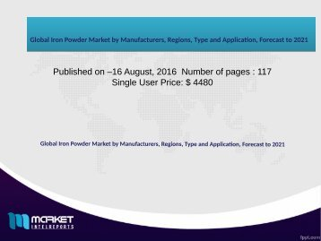Global Iron Powder Market by Manufacturers, Regions, Type and Application, Forecast to 2021