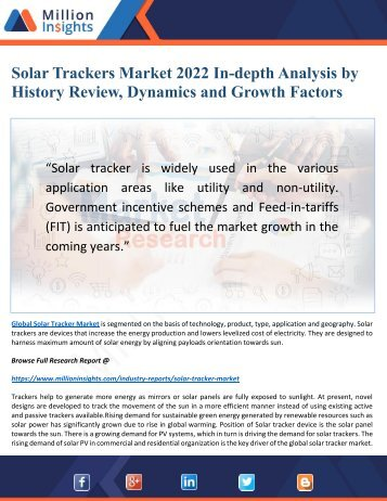 Solar Trackers Market 2022 Driven by Key Players and Regions Forecast