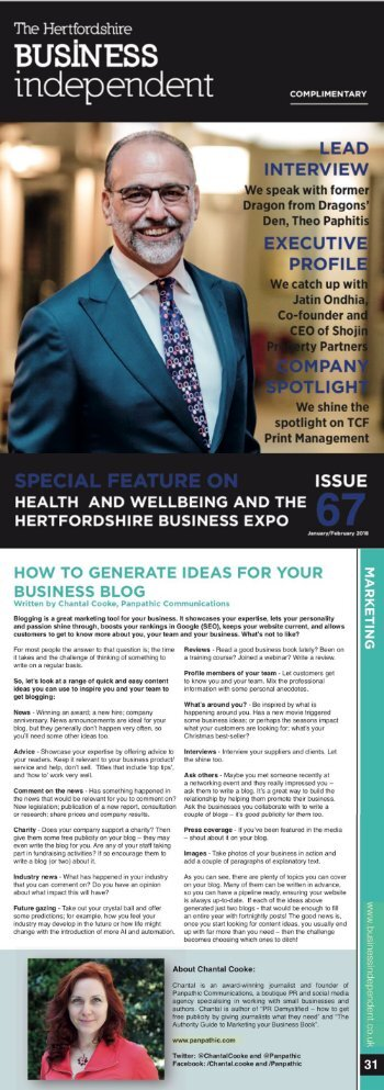 Chantal Cooke article in Herts Business Independent (2018 Jan-Feb)