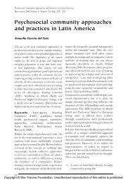 Psychosocial community approaches and practices in Latin America