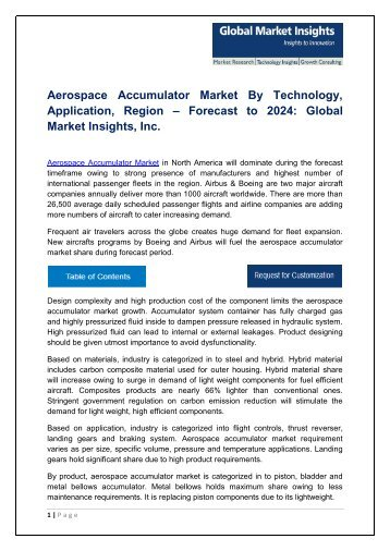Aerospace Accumulator Market Analysis, Trends and Forecast, 2017-2024
