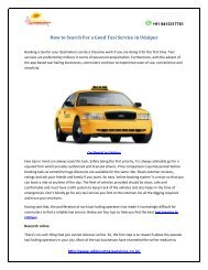 How to Search For a Good Taxi Service in Udaipur