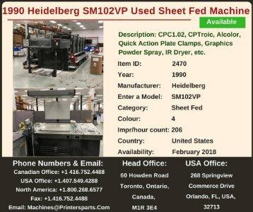 Buy Used 1990 SM102VP Heidelberg Printing Presses Machine
