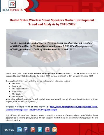 United States Wireless Smart Speakers Market Development Trend and Analysis by 2018-2022