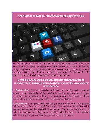 7 Key Steps Followed By An SMO Marketing Company India