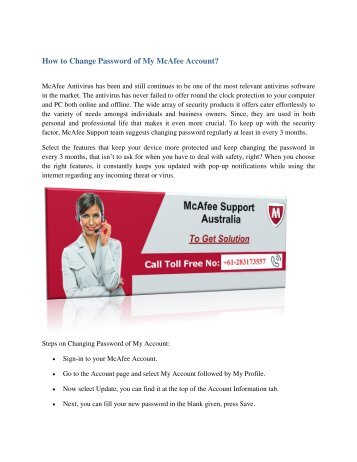 How to Change Password of My McAfee Account