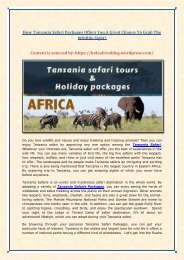 How Tanzania Safari Packages Offers You A Great Chance To Grab The Wildlife Sight