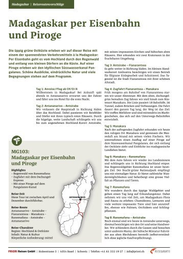 PRIORI Madagaskar Reiseroutenvorschlag: MG103