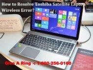 Resolve Toshiba Satellite Laptop Wireless Error