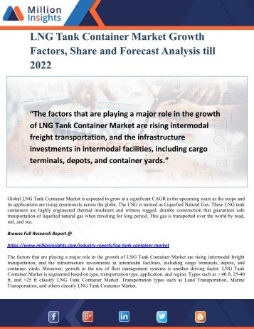 LNG Tank Container Market Growth Factors, Share and Forecast Analysis till 2022
