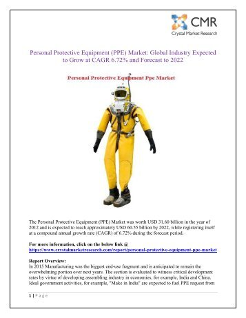 Personal Protective Equipment (PPE) Market worth USD 60.55 Billion By 2022 - Crystal Market research