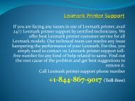 Lexmark Printer Customer Support  +1-844-867-9017 Lexmark Printer Support