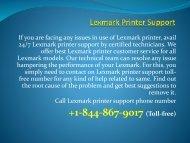 Lexmark Printer Customer Support  +1-844-867-9017 Lexmark Printer Support