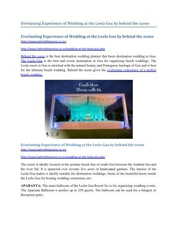 Everlasting  experience of Wedding at the Leela Goa by behind the scene