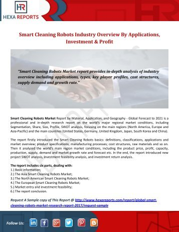 Smart Cleaning Robots Industry Overview By Applications, Investment & Profit