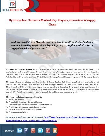 Hydrocarbon Solvents Market Key Players, Overview & Supply Chain