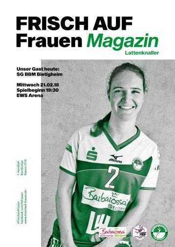"""Ausgabe 7 - Saison 2017/2018 - FRISCH AUF Frauen Magazin """"LATTENKNALLER"""""""