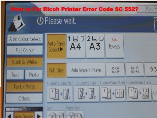 Fix Ricoh Printer Error Code SC 552