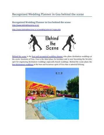 Recognized Wedding Planner in Goa behind the scene