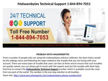 Malwarebytes  Customer support Number  1-844-894-7053