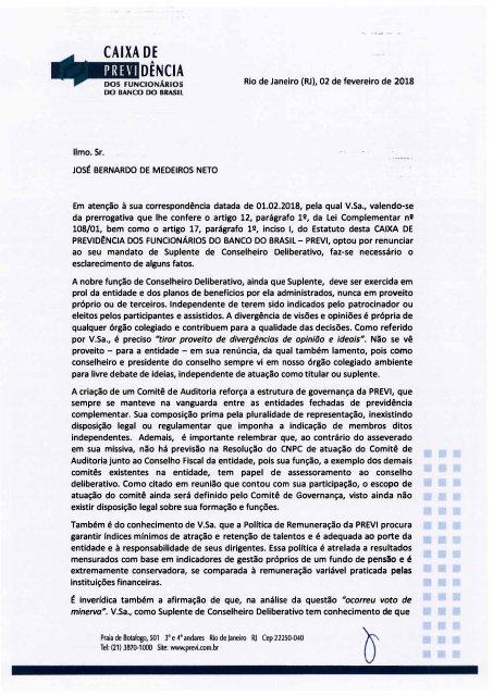 RESPOSTA DA PREVI SOBRE DENÚNCIAS DO DR. MEDEIROS