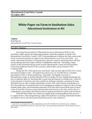 Mass Food Policy Council's White Paper on Farm to Institution Sales
