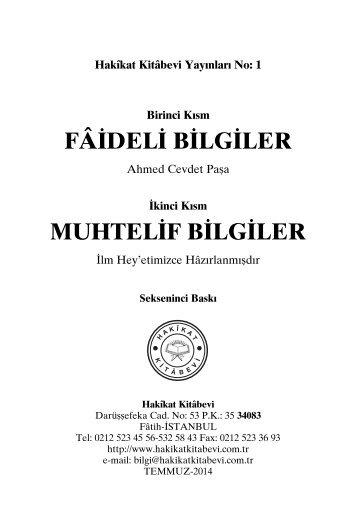 Hakikat Kitabevi Yayinlari - Faideli Bilgiler - Ahmed Cevdet Pasa - Huseyin Hilmi Isik