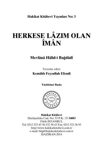 Herkese Lazim Olan Iman - Mevlana Halidi Bagdadi - Huseyin Hilmi Isik