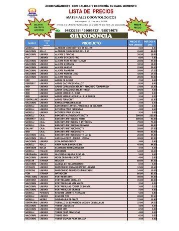 LISTA DE PRECIOS ORTODONCIA AL 22022018