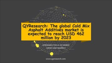QYResearch: The global Cold Mix Asphalt Additives market is expected to reach USD 462 million by 2023
