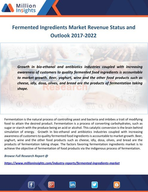 Fermented Ingredients Market Revenue Status and Outlook 2017-2022