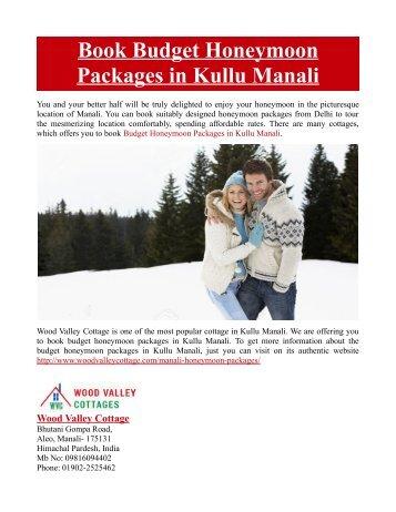 Book Budget Honeymoon Packages in Kullu Manali