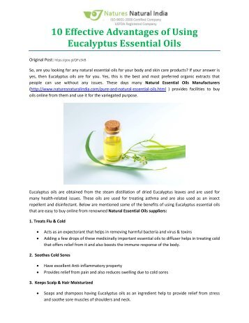 10 Effective Advantages of Using Eucalyptus Essential Oils